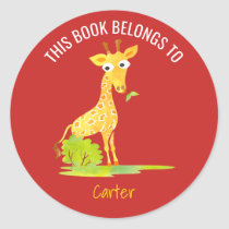 This Book Belongs To Personalized Kids Giraffe Red Classic Round Sticker