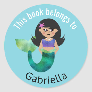 This Book Belongs To Personalized Latino Mermaid Classic Round Sticker