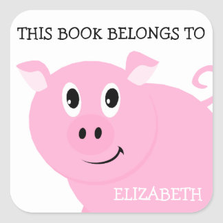This Book Belongs To Personalized Pink Pig Square Sticker