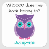 This Book Belongs To Personalized Purple Owl Kids Square Sticker