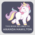 """THIS BOOK BELONGS TO PINK CUTE UNICORN SQUARE STICKER<br><div class=""""desc"""">THIS BOOK BELONGS TO PINK CUTE UNICORN BOOKPLATE LABEL STICKERS. Cute illustration with personalizable kids name.If you want to change the blue background,  please use button customize it</div>"""