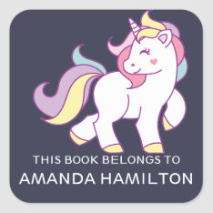 This Book Belongs To Pink Cute Unicorn Square Sticker at Zazzle