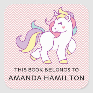 THIS BOOK BELONGS TO PINK CUTE UNICORN SQUARE STICKER