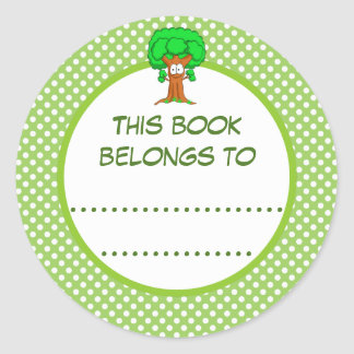 This Book Belongs To Polka Dots and Tree Classic Round Sticker