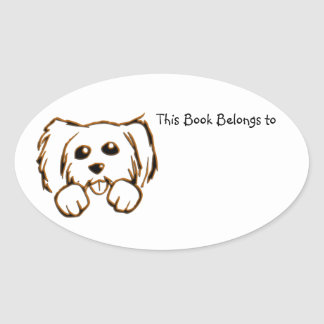 This Book Belongs to Puppy Oval Sticker