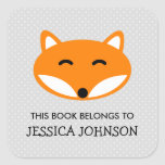 """This book belongs to red fox bookplate stickers<br><div class=""""desc"""">This book belongs to red fox bookplate label stickers. Forest animal name tag stickers. Personalized school supplies for little boys and girls. Cute illustration with personalizable kids name. Childrens vector design in primary colors. Available in square and round shape. Custom back to school supplies for child, parents, teacher etc. Grammar...</div>"""