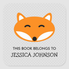 This Book Belongs To Red Fox Bookplate Stickers at Zazzle