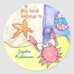 """This book belongs to"" seascape bookplate Round Sticker"