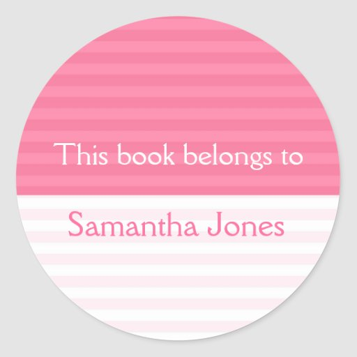 This Book Belongs To Stickers::Pink Stripes