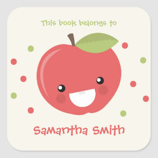 This book belongs to stickers, red apple bookplate
