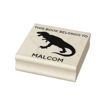 This Book Belongs To T-Rex Dinosaur Kids Custom Rubber Stamp