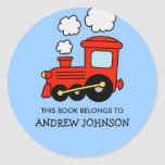 """This book belongs to toy train bookplate stickers<br><div class=""""desc"""">This book belongs to red choo choo train book label stickers. Toy locomotive name tag stickers. Personalized school supplies for little boys and girls. Cute red dump truck illustration with personalizable kids name. Childrens vector design in primary colors. Available in square and round shape. Custom back to school supplies for...</div>"""
