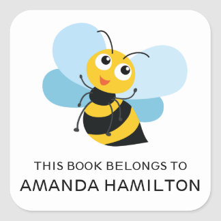 THIS BOOK BELONGS TO YELLOW CUTE BEE SQUARE STICKER