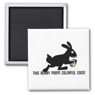 This Bunny Poops Colorful Eggs 2 Inch Square Magnet