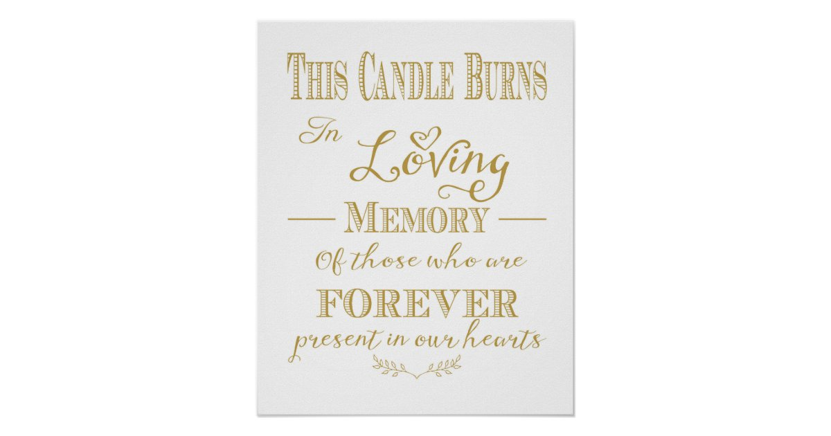 This Candle Burns In Loving Memory Print | Zazzle