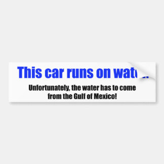 This Car Runs On Water Car Bumper Sticker