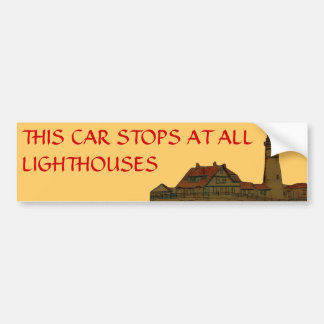 This Car Stops at all Lighthouse Bumper Sticker