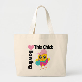 This Chick Loves Bowling Large Tote Bag