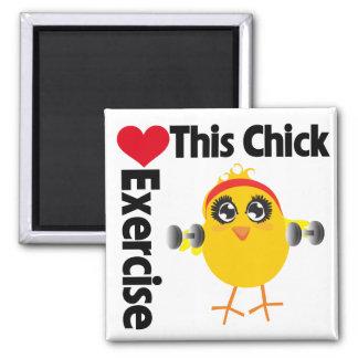 This Chick Loves Exercise Fridge Magnet