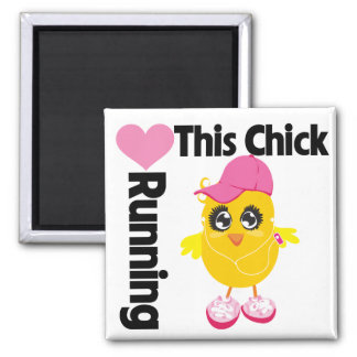 This Chick Loves Running 2 Inch Square Magnet