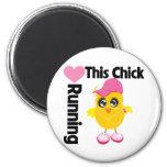 This Chick Loves Running Fridge Magnet