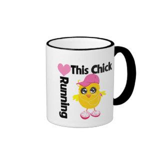 This Chick Loves Running Ringer Mug