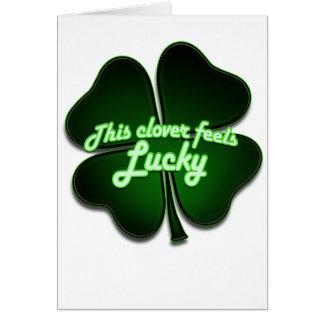 This clover feels lucky too card