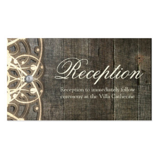 This Country Lace and Wood Rustic Reception Card Business Cards