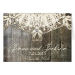 This Country Lace and Wood Rustic Wedding Card