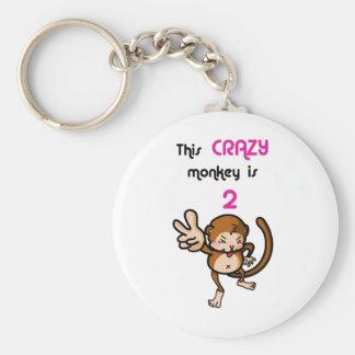 This Crazy Monkey is 2 Basic Round Button Keychain