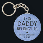 """This Daddy Belongs To Father's Day Navy Blue Keychain<br><div class=""""desc"""">Personalized This Daddy Belongs To Father's Day Navy Blue Texture Keychain Personalize it with the names of your kids.</div>"""