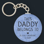 """This Daddy Belongs To Father's Day Navy Blue Keychain<br><div class=""""desc"""">Personalized This Daddy Belongs To Father"""