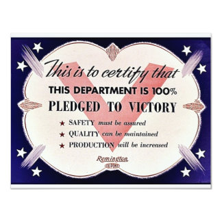This Department Is 100% Pledged To Victory 4.25x5.5 Paper Invitation Card