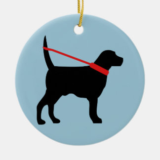 This dog is walking himself n the leash ceramic ornament