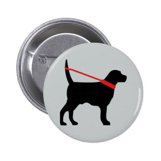 This dog is walking himself n the leash pinback button