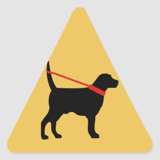 This dog is walking himself n the leash triangle sticker