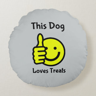 This Dog Loves Treats Smiley Face Pet Bed Cushion Round Pillow