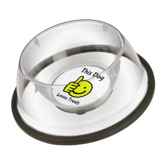 This Dog Loves Treats Smiley Face Thumbs Up Bowl