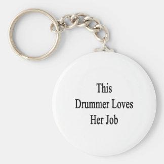 This Drummer Loves Her Job Keychain