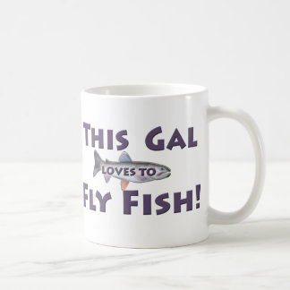 This Gal Loves to Fly Fish! Trout Fly Fishing Classic White Coffee Mug