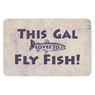 This Gal Loves to Fly Fish! Trout Fly Fishing Rectangular Photo Magnet