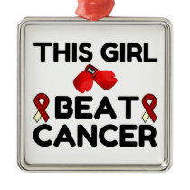 THIS GIRL BEAT CANCER METAL ORNAMENT
