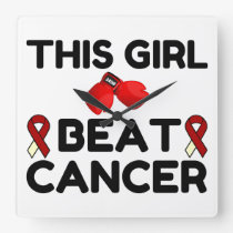 THIS GIRL BEAT CANCER SQUARE WALL CLOCK