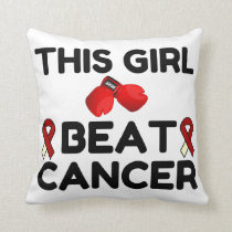 THIS GIRL BEAT CANCER THROW PILLOW
