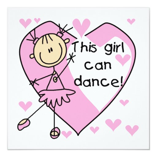This Girl Can Dance T-shirts and Gifts 5.25x5.25 Square Paper Invitation Card