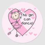 This Girl Can Dance T-shirts and Gifts Round Stickers