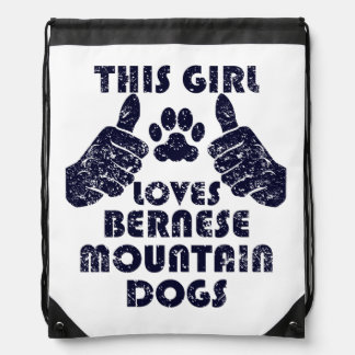 This Girl Loves Bernese Mountain Dogs Drawstring Bags