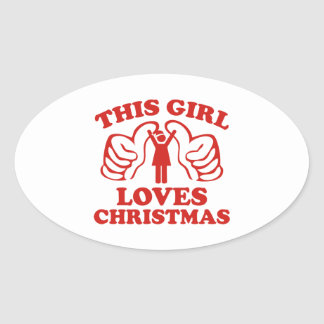 This Girl Loves Christmas Oval Sticker