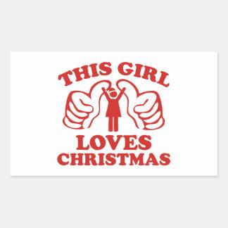 This Girl Loves Christmas Rectangular Sticker