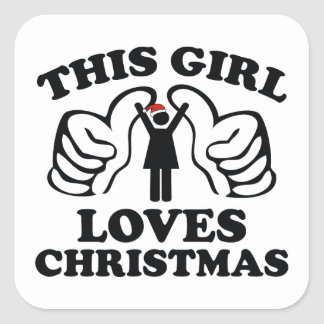 This Girl Loves Christmas Square Sticker